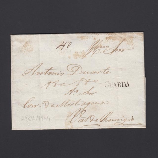 Carta Pré-Filatélica circulada de Guarda para Vale Remigio datada 28-02-1844