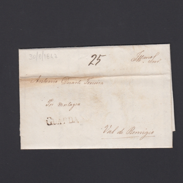 Carta Pré-Filatélica circulada de Guarda para Vale Remigio datada 30-08-1847