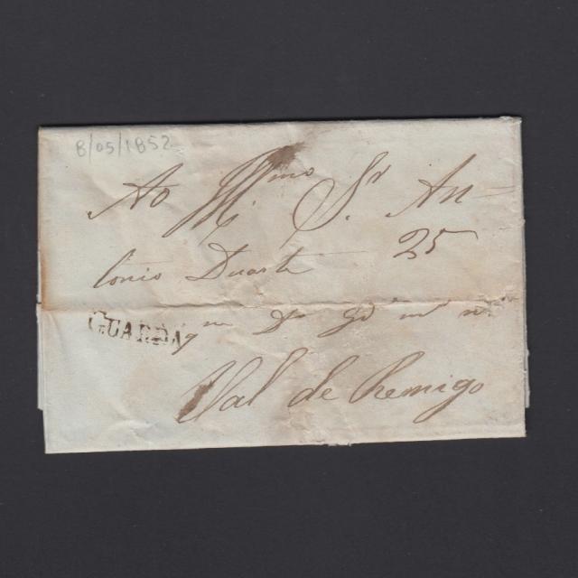 Carta Pré-Filatélica circulada de Guarda para Vale Remigio datada 08-05-1852