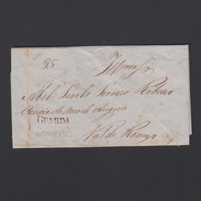 Carta Pré-Filatélica circulada de Guarda para Vale Remigio datada 06-07-1852