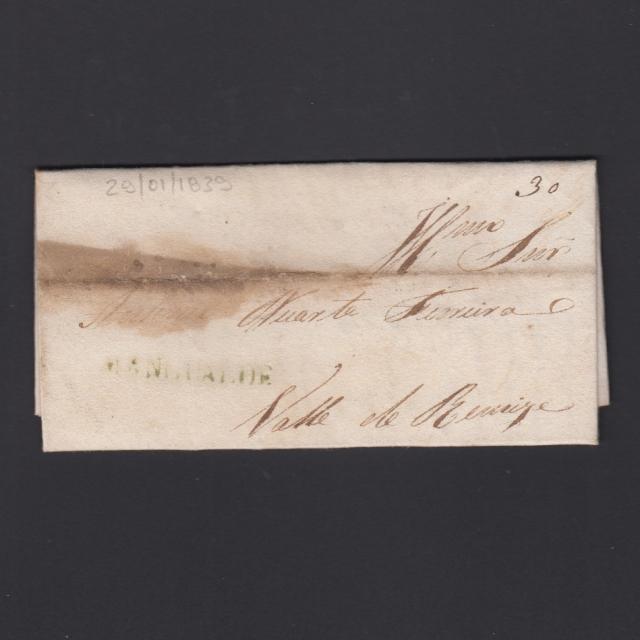 Carta Pré-Filatélica circulada de Mangualde para Vale Remigio datada 29-01-1839