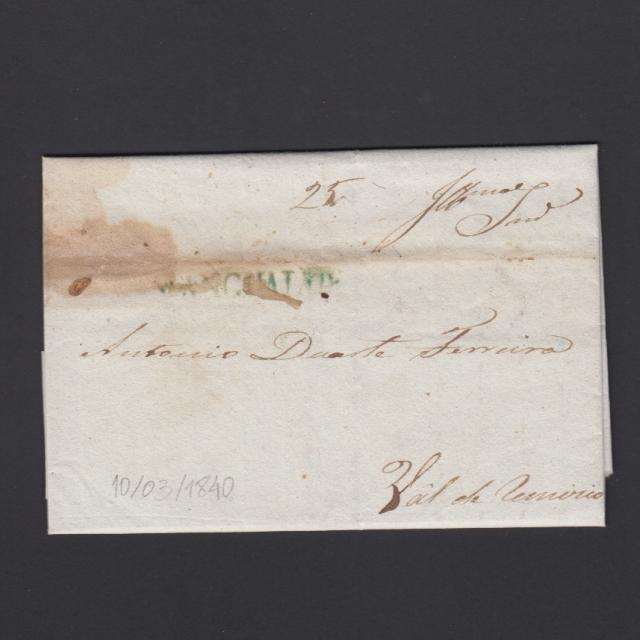 Carta Pré-Filatélica circulada de Mangualde para Vale Remigio datada 16-03-1840