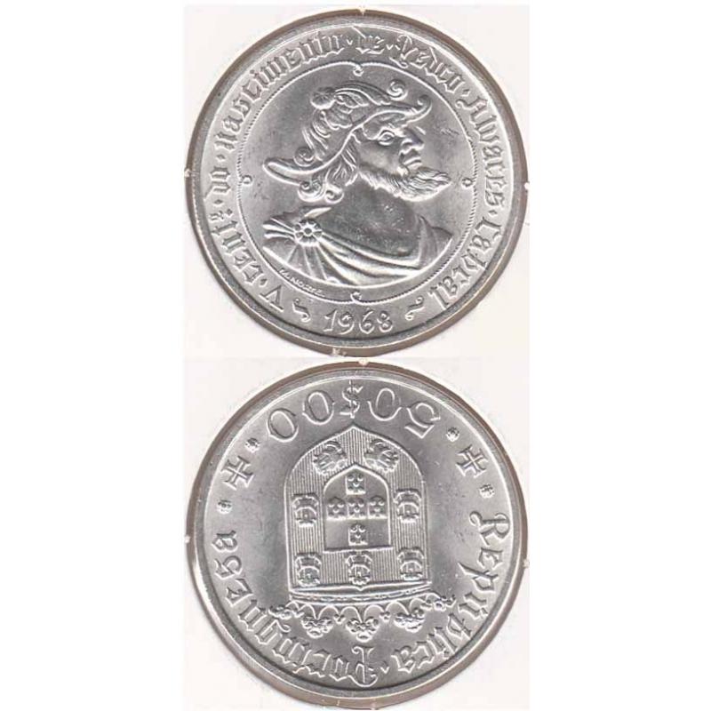 50 Escudos prata 1968 Pedro A. Cabral ( moeda 50$00 Pedro A. Cabral)