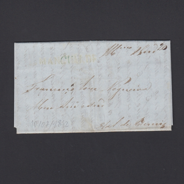 Carta Pré-Filatélica circulada de Mangualde para Vale Remigio datada 10-07-1842