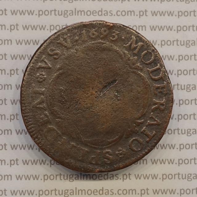 "MOEDA XX REIS 1693 COBRE ANGOLA / BRASIL ""SPLNDEAT"" D. PEDRO II"