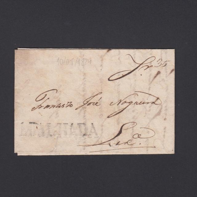 Carta Pré-Filatélica circulada de Mialhada (Mealhada)  para Lisboa datada 10-08-1829