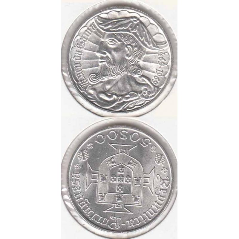 50 Escudos prata 1969 Vasco da Gama Legenda Rebordo A