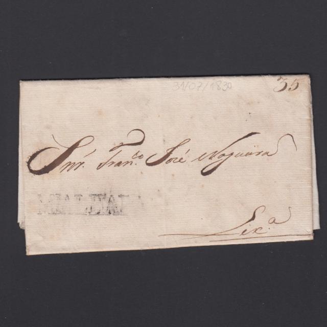 Carta Pré-Filatélica circulada de Mialhada (Mealhada) para Lisboa datada 31-07-1830