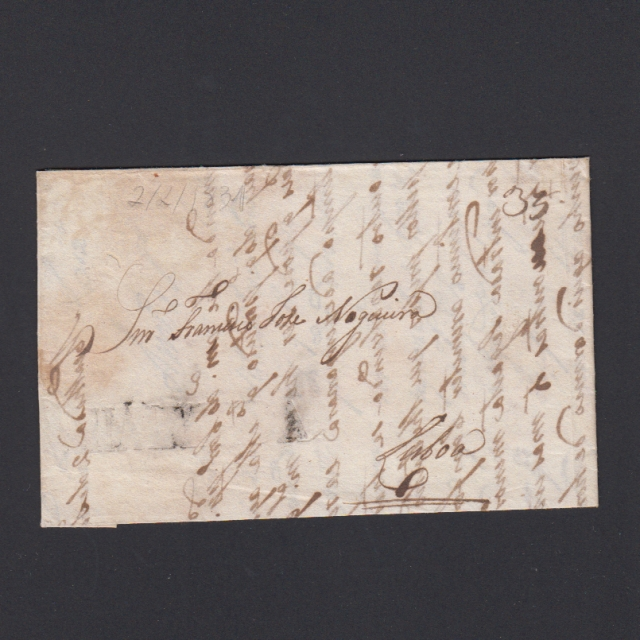 Carta Pré-Filatélica circulada de Mialhada (Mealhada) para Lisboa datada 02-01-1831