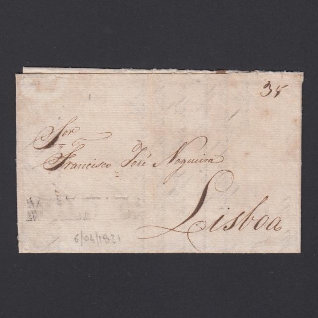 Carta Pré-Filatélica circulada de Mialhada (Mealhada) para Lisboa datada 06-04-1831