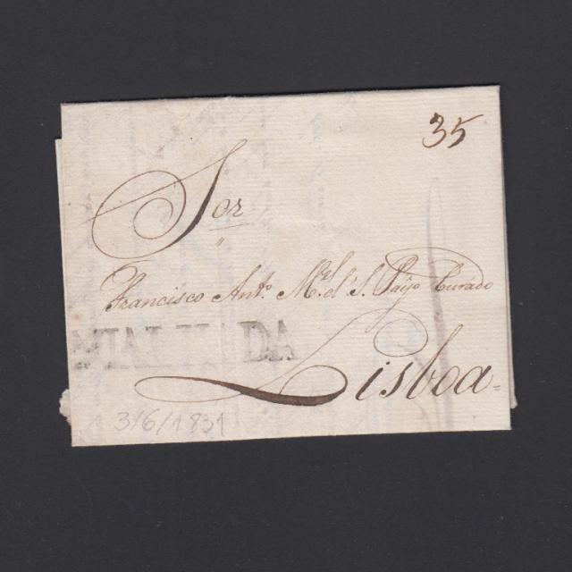 Carta Pré-Filatélica circulada de Mialhada (Mealhada) para Lisboa datada 03-06-1831
