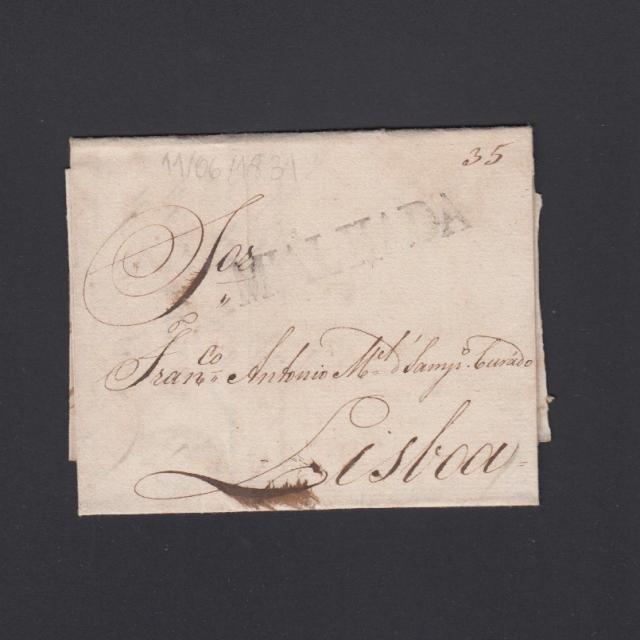 Carta Pré-Filatélica circulada de Mialhada (Mealhada) para Lisboa datada 11-06-1831