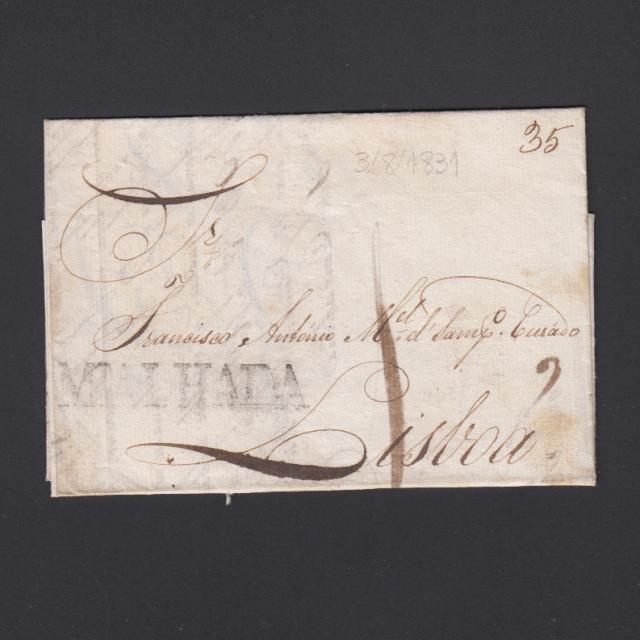 Carta Pré-Filatélica circulada de Mialhada (Mealhada) para Lisboa datada 03-08-1831