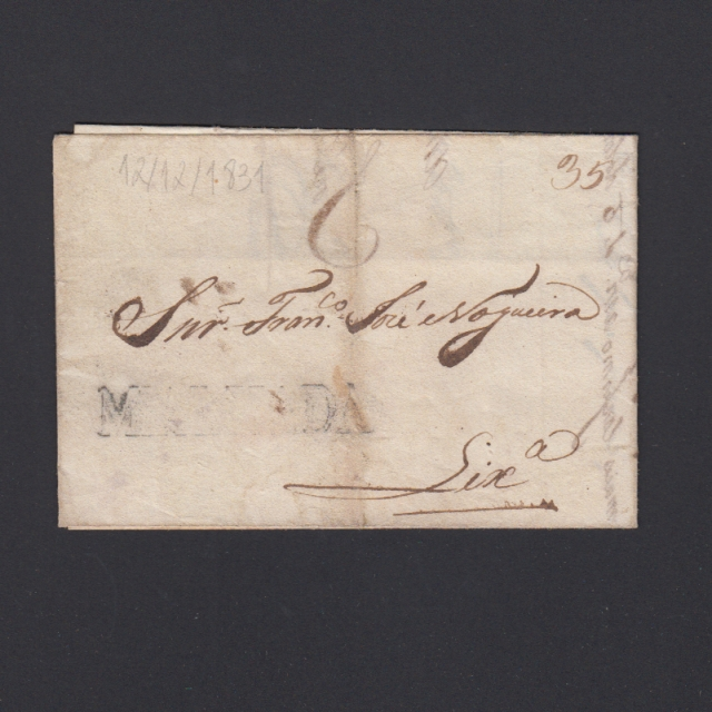 Carta Pré-Filatélica circulada de Mialhada (Mealhada) para Lisboa datada 12-12-1831