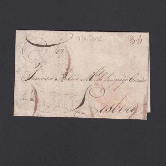 Carta Pré-Filatélica circulada de Mialhada (Mealhada) para Lisboa datada 07-01-1832