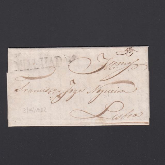 Carta Pré-Filatélica circulada de Mialhada (Mealhada) para Lisboa datada 03-04-1832