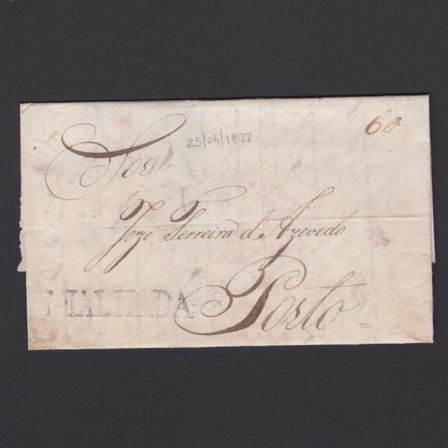 Carta Pré-Filatélica circulada de Mialhada (Mealhada) para Lisboa datada 25-04-1832