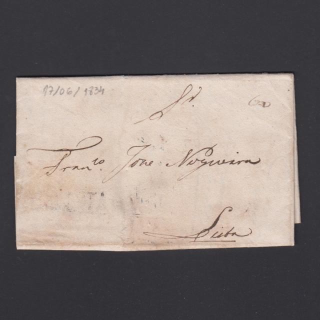 Carta Pré-Filatélica circulada de Mialhada (Mealhada) para Lisboa datada 17-06-1834