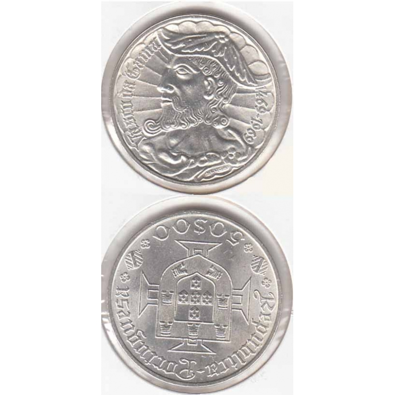 50 Escudos prata 1969 Vasco da Gama Legenda Rebordo B