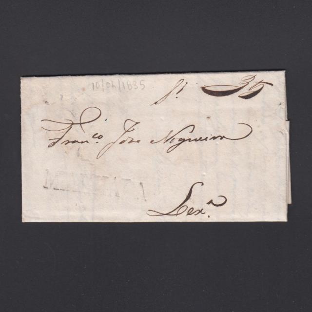 Carta Pré-Filatélica circulada de Mialhada (Mealhada) para Lisboa datada 10-04-1835