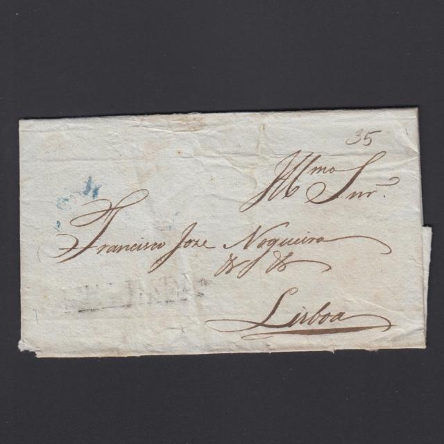 Carta Pré-Filatélica circulada de Mialhada (Mealhada) para Lisboa datada 15-06-1835