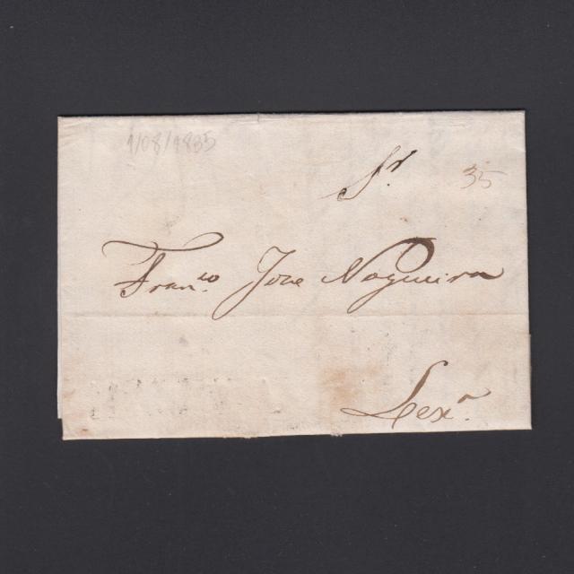 Carta Pré-Filatélica circulada de Mialhada (Mealhada) para Lisboa datada 01-08-1835