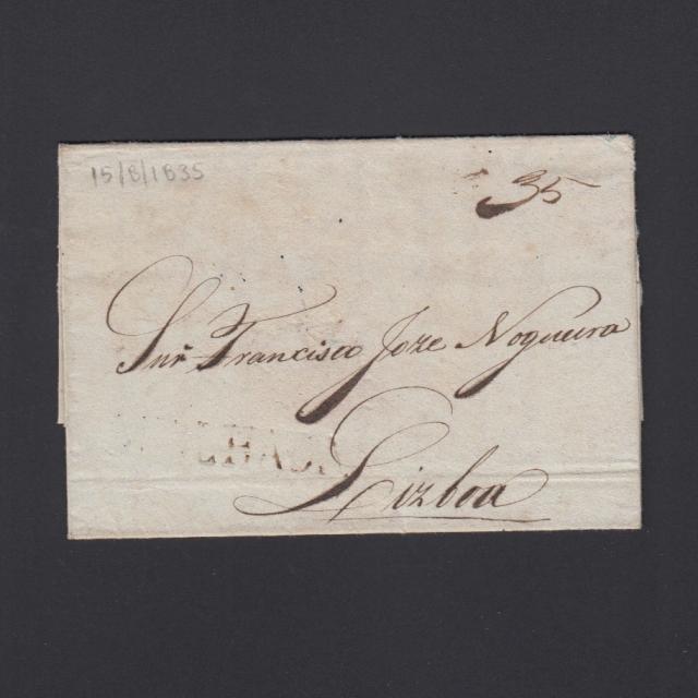 Carta Pré-Filatélica circulada de Mialhada (Mealhada) para Lisboa datada 15-08-1835