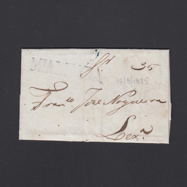 Carta Pré-Filatélica circulada de Mialhada (Mealhada) para Lisboa datada 18-08-1835