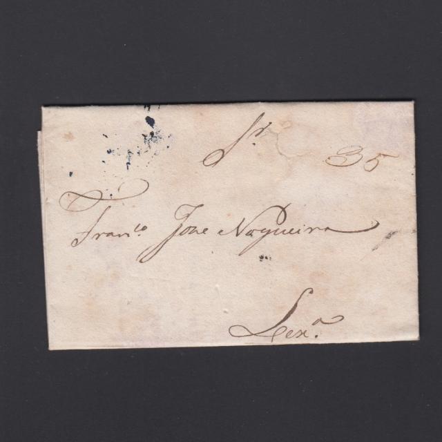 Carta Pré-Filatélica circulada de Mialhada (Mealhada) para Lisboa datada 21-08-1835