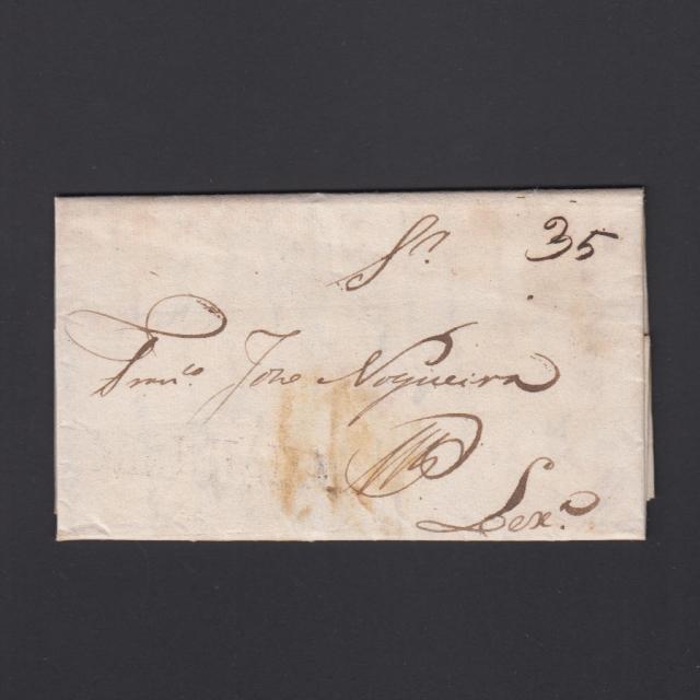 Carta Pré-Filatélica circulada de Mialhada (Mealhada) para Lisboa datada 28-08-1835