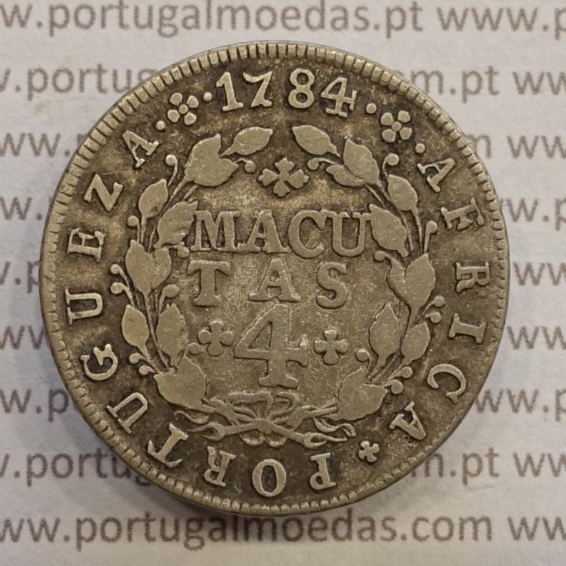 MOEDA DE 4 MACUTAS PRATA 1784 - D. MARIA I E PEDRO III - CUNHAGEM PARA CIRCULAÇÃO NA COLÓNIA DE ANGOLA