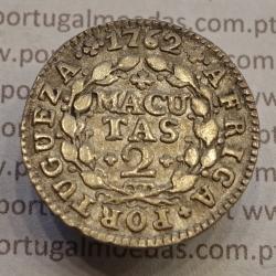 MOEDA DE 2 MACUTAS PRATA 1762 - D. JOSÉ I - CUNHAGEM PARA CIRCULAÇÃO NA COLÓNIA DE ANGOLA