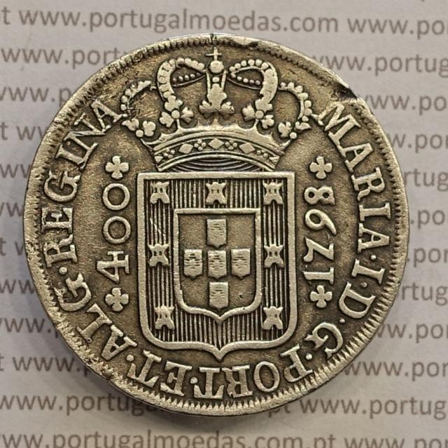 CRUZADO NOVO PRATA (480 RÉIS) 1798 COROA ALTA DIADEMA LOZANGO 4 PONTOS - COM VARIANTES NÃO CLASSIFICADAS - D. MARIA I
