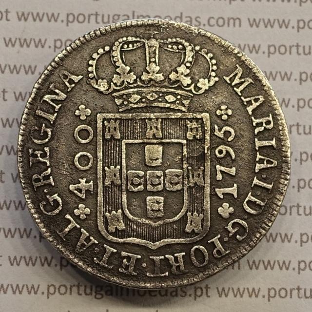 CRUZADO NOVO PRATA (480 RÉIS) 1795 COROA BAIXA DIADEMA LOZANGO 2 PONTOS - COM ALGARISMOS DATA PEQUENOS