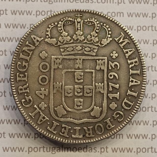 CRUZADO NOVO PRATA (480 RÉIS) 1793 COROA BAIXA DIADEMA LOZANGO 2 PONTOS - D. MARIA I