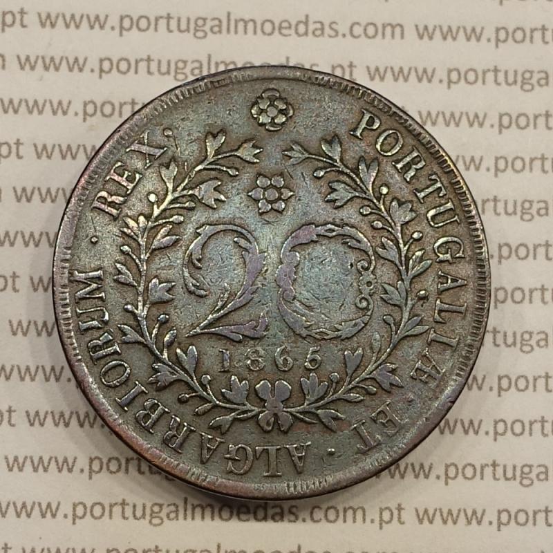20 REIS COBRE 1865 - AÇORES / VARIANTE LEGENDA COM PONTOS (MBC)