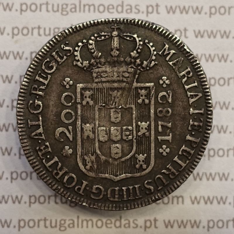 MOEDA 12 VINTÉNS PRATA (240 RÉIS) 1782 COROA PEQUENA DIADEMA LOZANGO 2 PONTOS CRUZ SIMPLES - D. MARIA I & D. PEDRO III