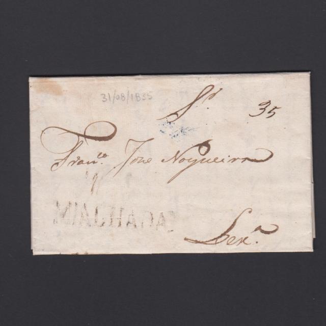 Carta Pré-Filatélica circulada de Mialhada (Mealhada) para Lisboa datada 31-08-1835