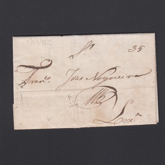 Carta Pré-Filatélica circulada de Mialhada (Mealhada) para Lisboa datada 01-09-1835
