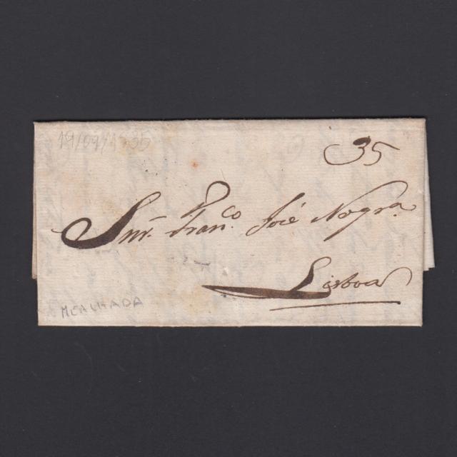 Carta Pré-Filatélica circulada de Mialhada (Mealhada) para Lisboa datada 19-09-1835