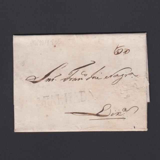 Carta Pré-Filatélica circulada de Mialhada (Mealhada) para Lisboa datada 20-10-1835