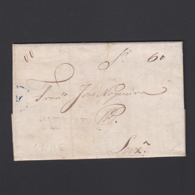 Carta Pré-Filatélica circulada de Mialhada (Mealhada) para Lisboa datada 01-01-1836