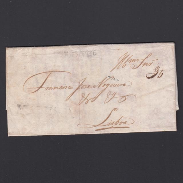 Carta Pré-Filatélica circulada de Mialhada (Mealhada) para Lisboa datada 11-03-1836