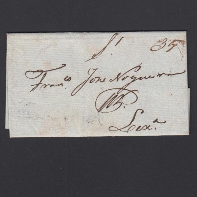 Carta Pré-Filatélica circulada de Mialhada (Mealhada) para Lisboa datada 12-04-1836