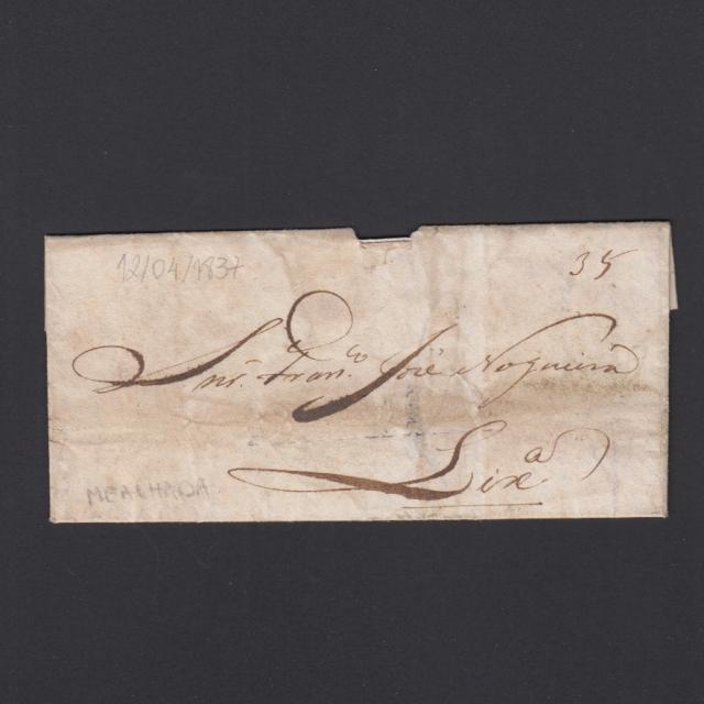 Carta Pré-Filatélica circulada de Mialhada (Mealhada) para Lisboa datada 12-04-1837
