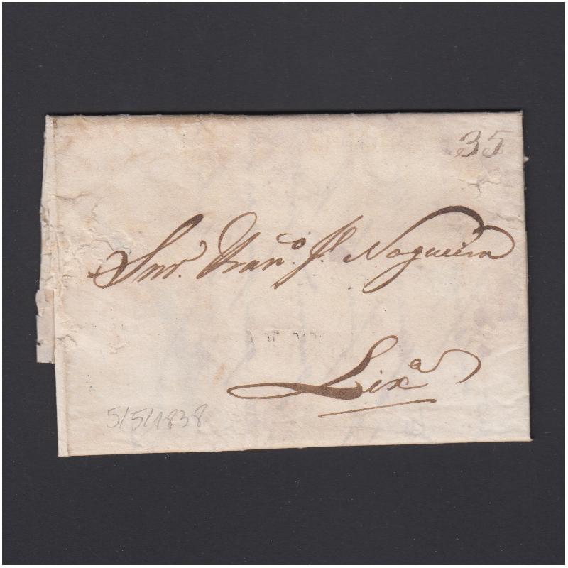 Carta Pré-Filatélica circulada de Mialhada (Mealhada) para Lisboa datada 05-05-1838