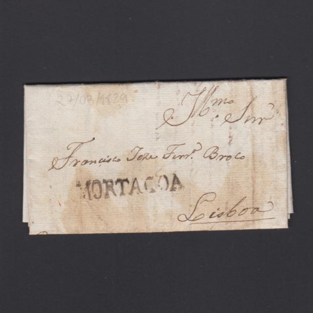 Carta Pré-Filatélica circulada de Mortágua para Lisboa datada 27-03-1829