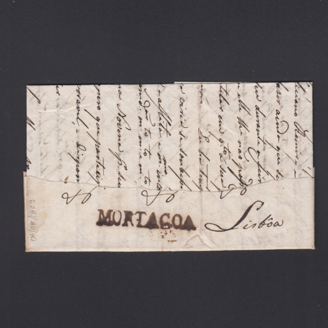 Carta Pré-Filatélica circulada de Mortágua para Lisboa datada 07-08-1829