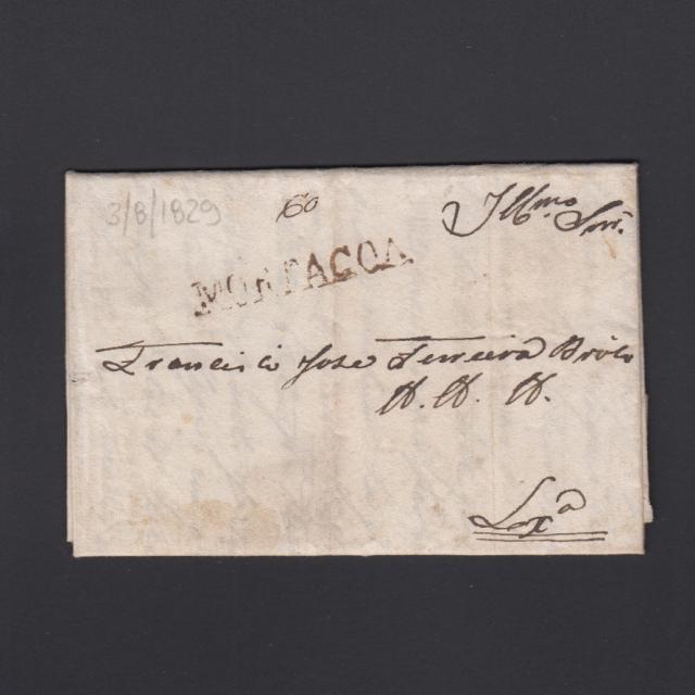 Carta Pré-Filatélica circulada de Mortágua para Lisboa datada 03-08-1829