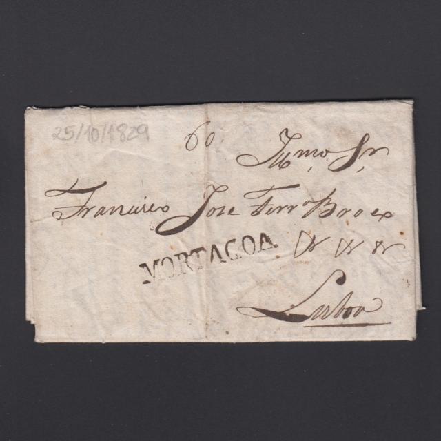 Carta Pré-Filatélica circulada de Mortágua para Lisboa datada 25-10-1829